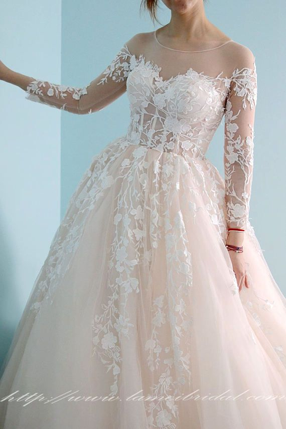 Custom Made Long Sleeve Fairy Style Ball Gown with Lace Applique in Light Blush , L'Amei 2017 Collection