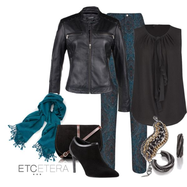 URBAN CHIC: MOTO black leather jacket, RANCH blue jacquard printed pant, BLACKTIE black blouse. KISMET blue scarf. ETCETERA FALL COLLECTION