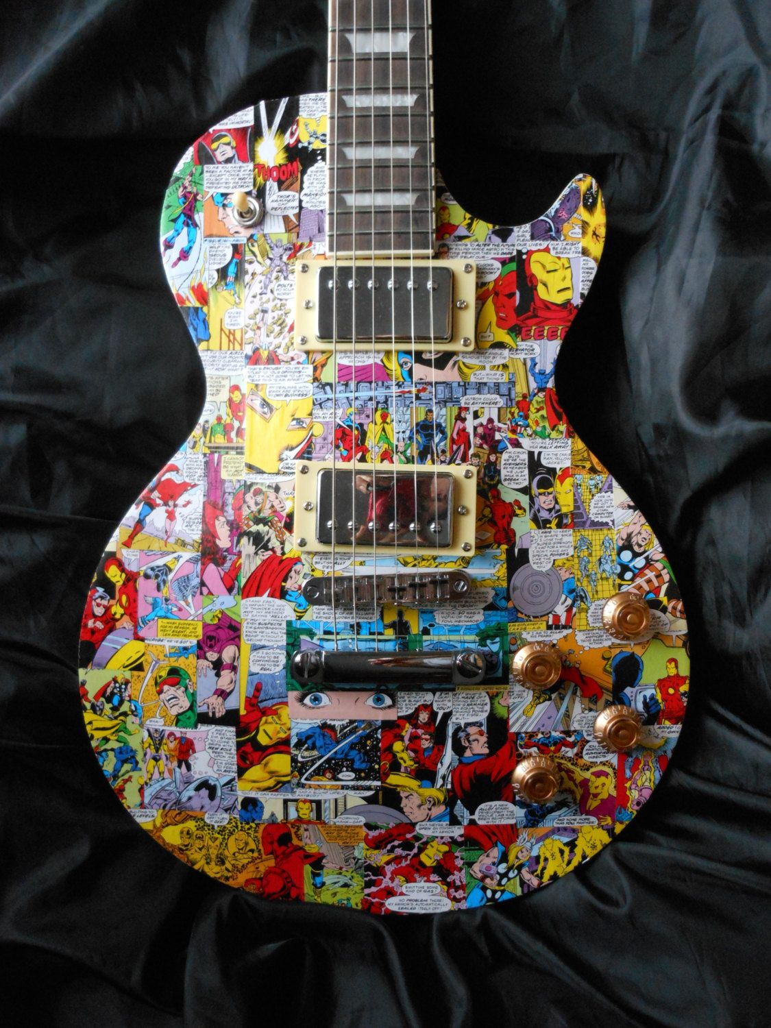 Avengers Lp Style Electric Guitar Hand Decorated In By