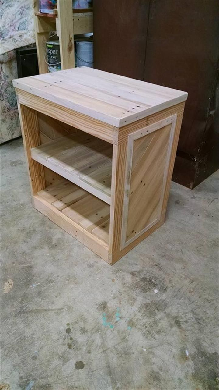 Diy pallet sofa with table 99 pallets - Diy Pallet Nightstand Or Side Table