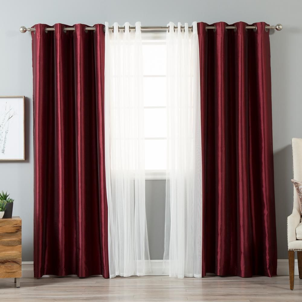 Best Home Fashion 84 In L Umixm Tulle And Burgundy Faux Silk Blackout Curtain 4 Pack Mm Gr Tulle Gr Bo Silk 84 Burg The Home Depot In 2020 Burgundy Living Room Curtains Living Room Living Room Decor Neutral