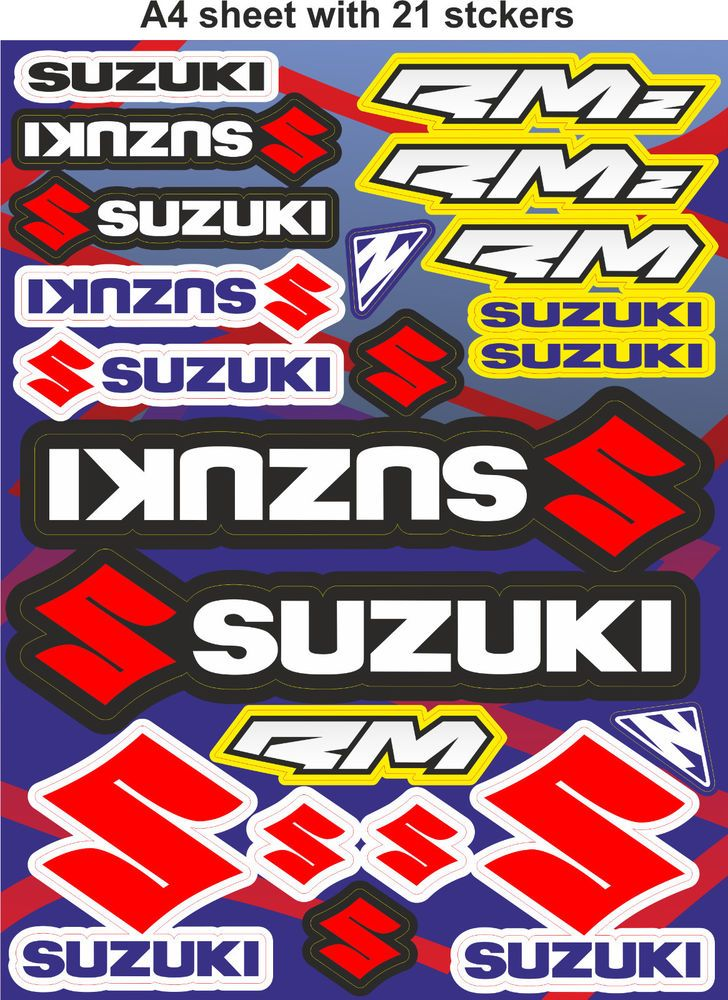 Suzuki Stickersrace Stickers Decalshelmet Decalmotorcycle - Suzuki motorcycles stickers