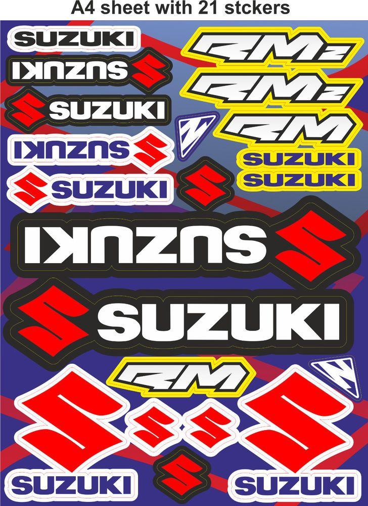 Suzuki Stickers Race Stickers Decals Helmet Decal Motorcycle