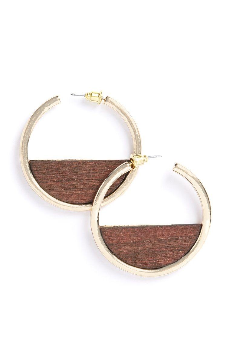 Gold wood hoop earrings wood hoop earrings primark