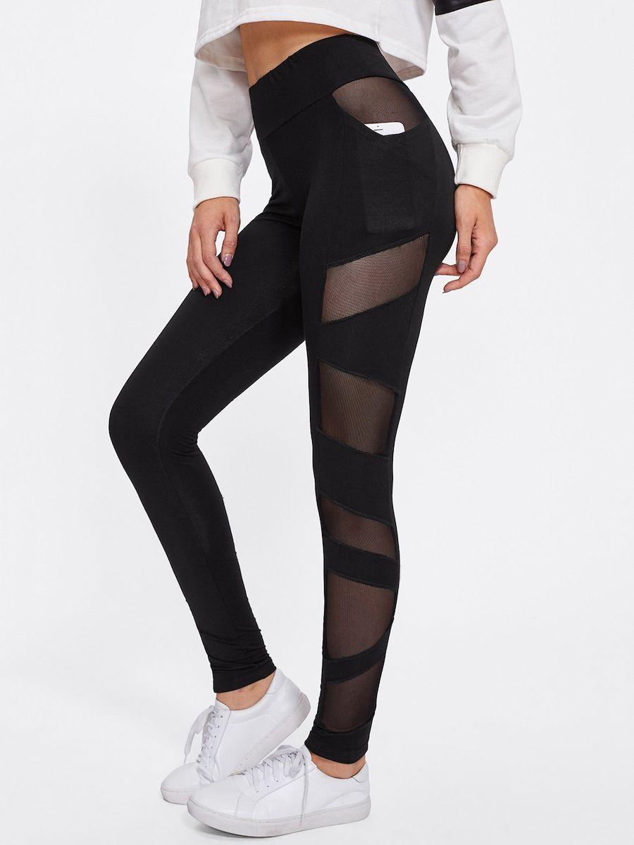 Leggings Mit Netzstoff Shein Leggings Mode Modestil Bekleidungsstile