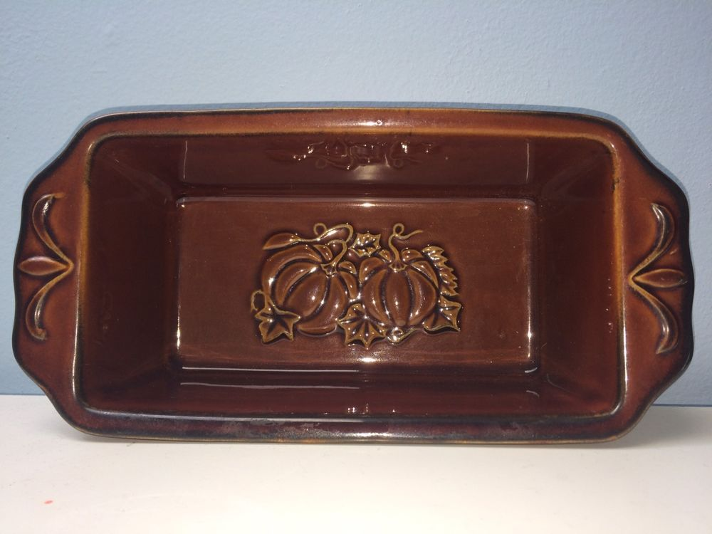 Williams Sonoma Stoneware Bakers Loaf Deep Amber Pumpkins Autumn Harvest  #Sonoma