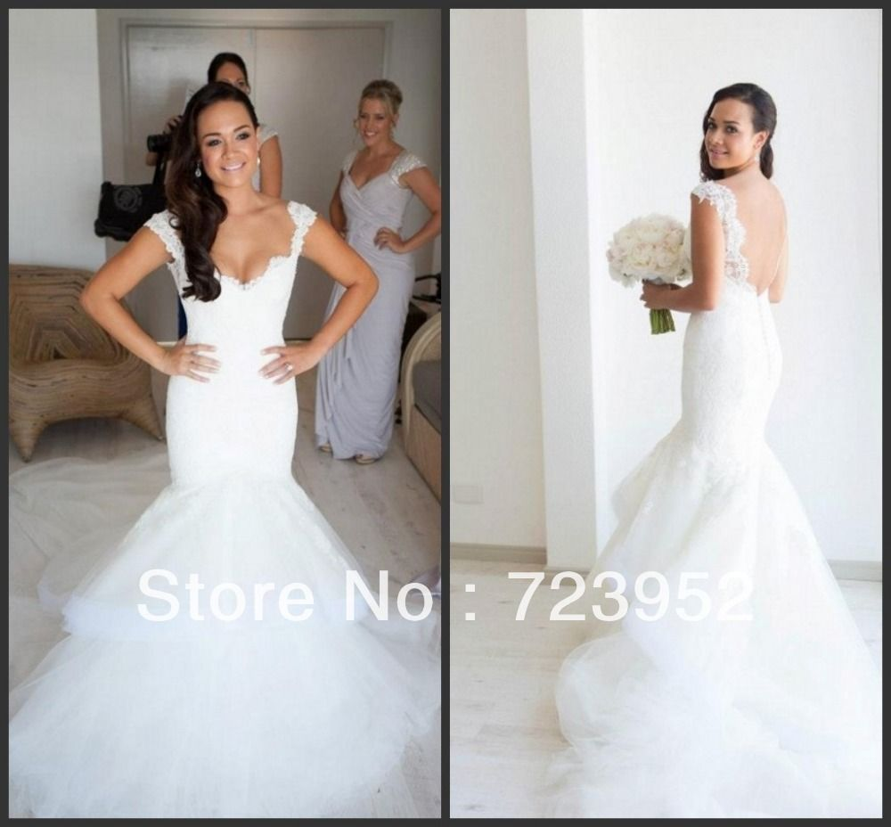 2013 Steven Khalil Designer Lace Mermaid Wedding Dress Cap Sleeve ...