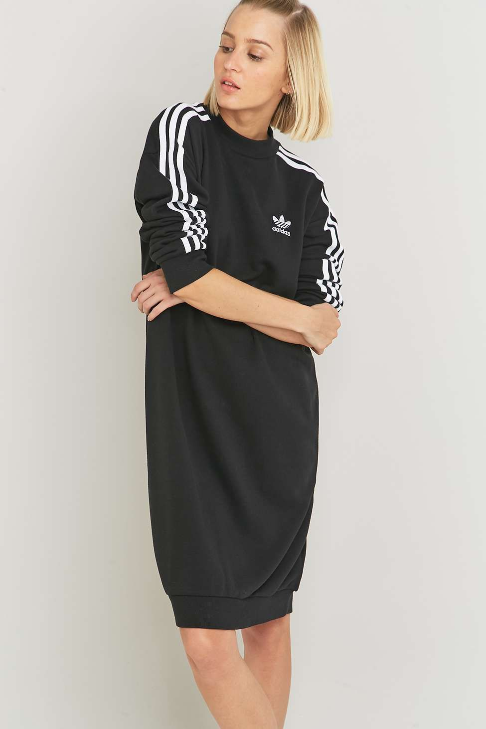 free shipping ecef6 10e3d adidas Originals 3-Stripe Black Midi Dress