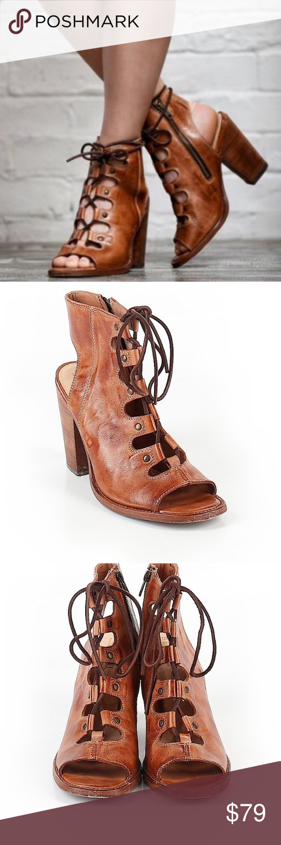 BED STU NEW OSANNA LACE UP HEEL in Cognac