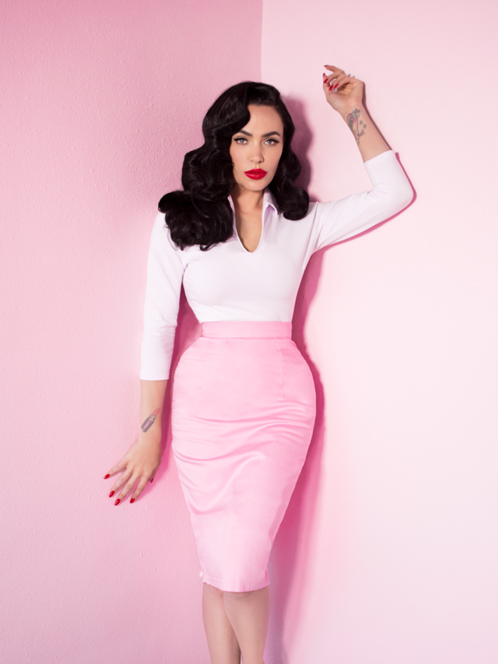 3a064e47cb Limited Edition - Vixen Pencil Skirt in Powder Pink - Vixen by Micheline  Pitt