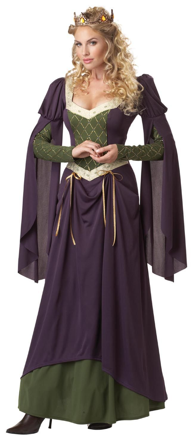 Ladies Royal Queen Costume Adults Medieval History Fancy Dress Womens Outfit