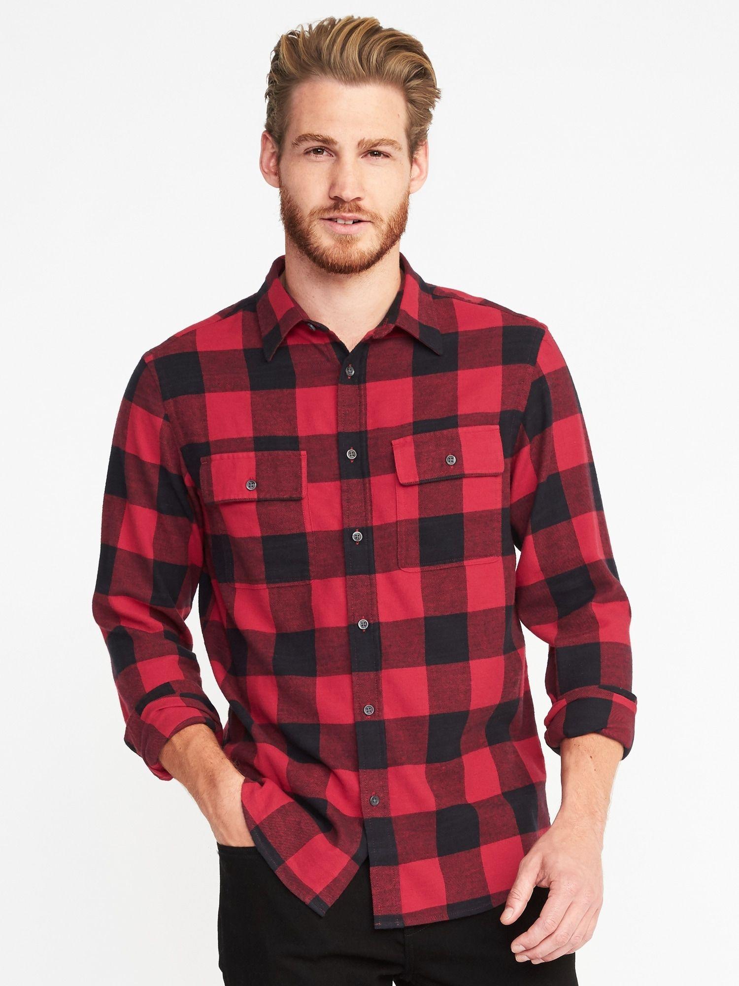 Big flannel outfits  RegularFit BuiltIn Flex Flannel Shirt for Menoldnavy  Large