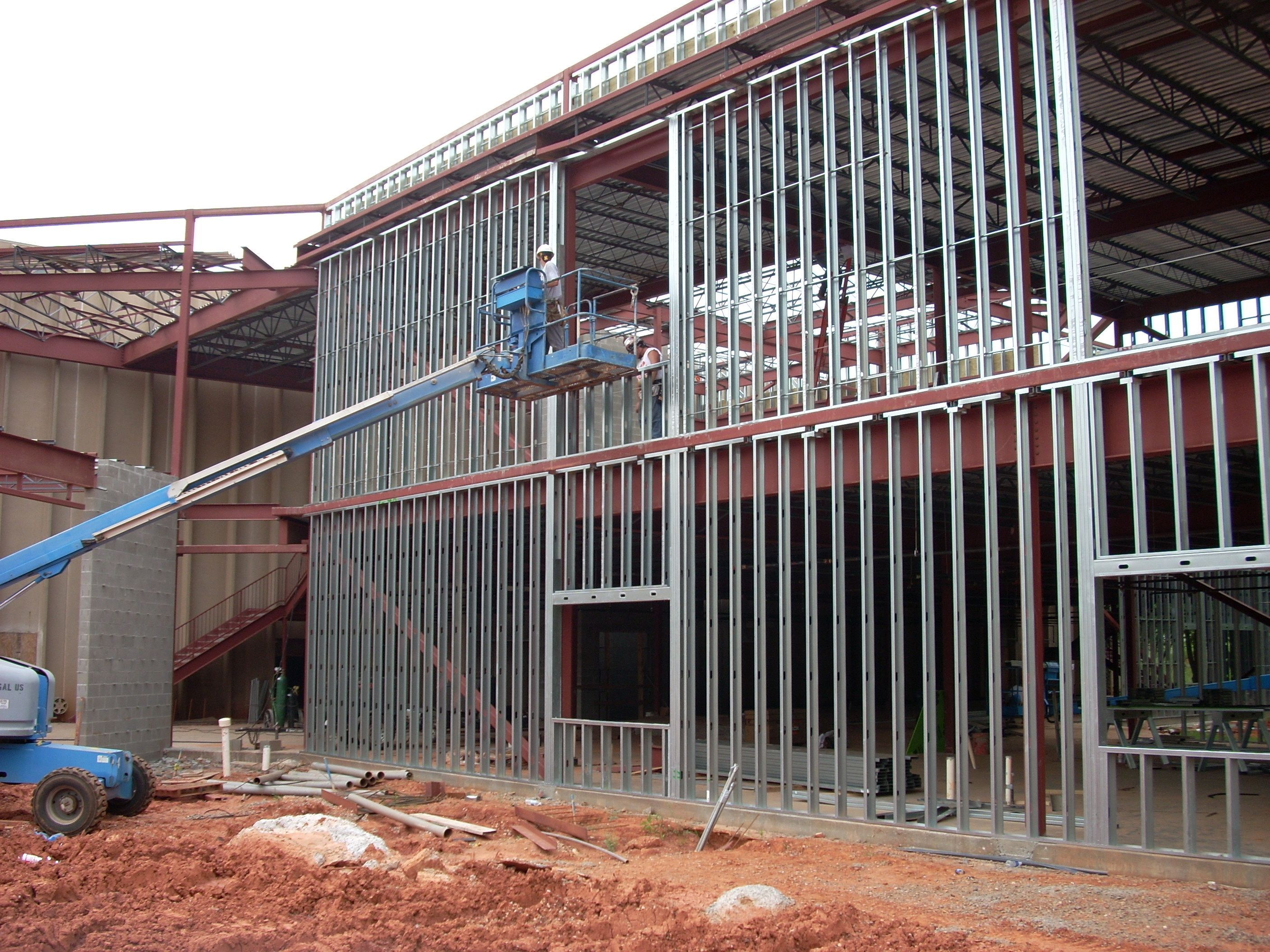 Metal Stud Construction Workers Installing Exterior