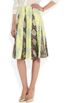 Jemima python-print satin, lace and crepe skirt by Erdem