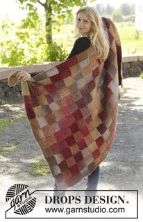 """Knitted DROPS blanket with Entrelac pattern in """"Big Delight"""". ~ DROPS Design"""