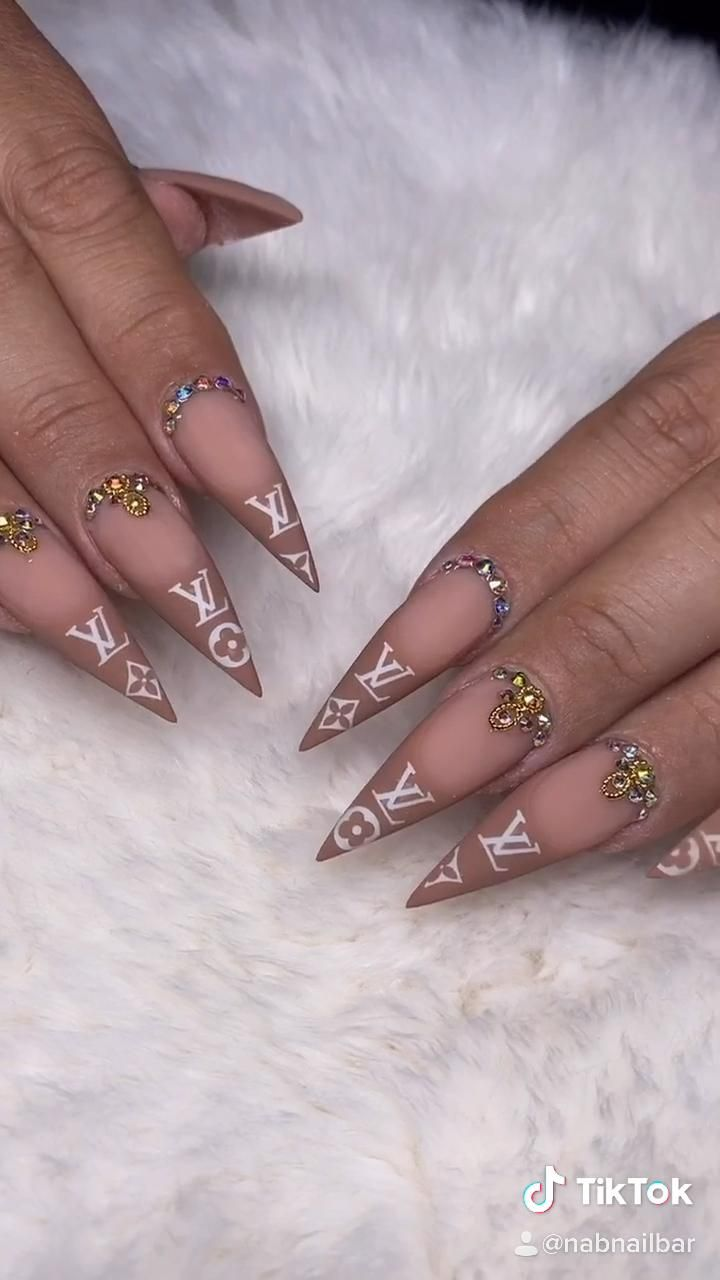 Classy White Chocolate with Hints of Gold XL Vuitton Nail Design Ideas