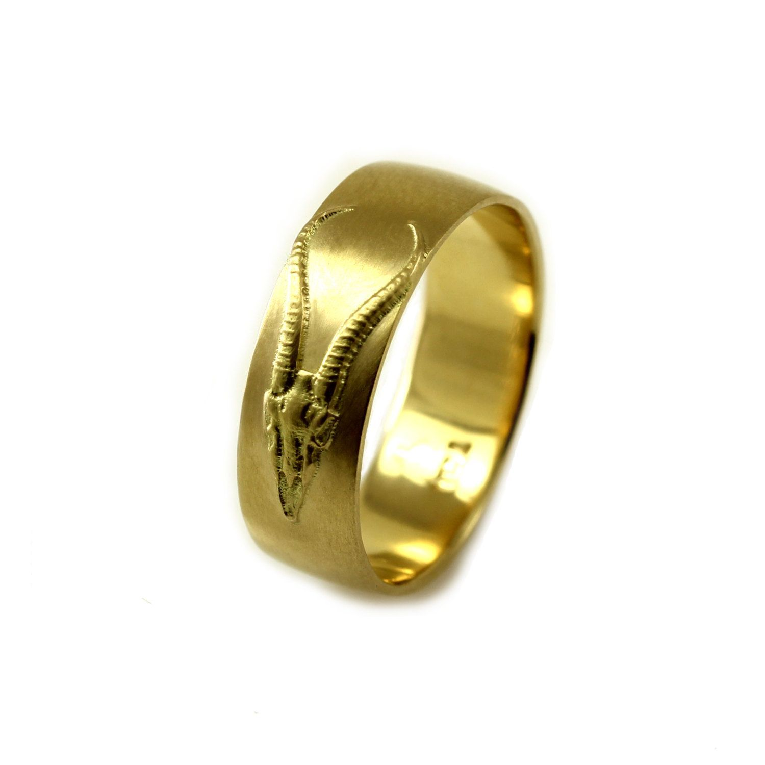 Very Unique Antelope Skull 18k Yellow Gold Mens Wedding Band I Modeled This Ring From A Springbok Gazelle Of Southwestern Africa