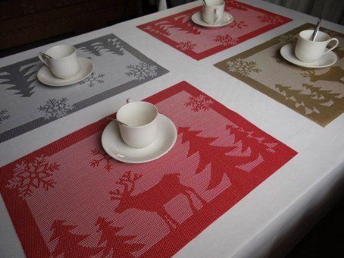 CHRISTMAS TABLE PLACE MAT JACQUARD XMAS DECORATION SNOWFLAKES~REINDEER~TREE