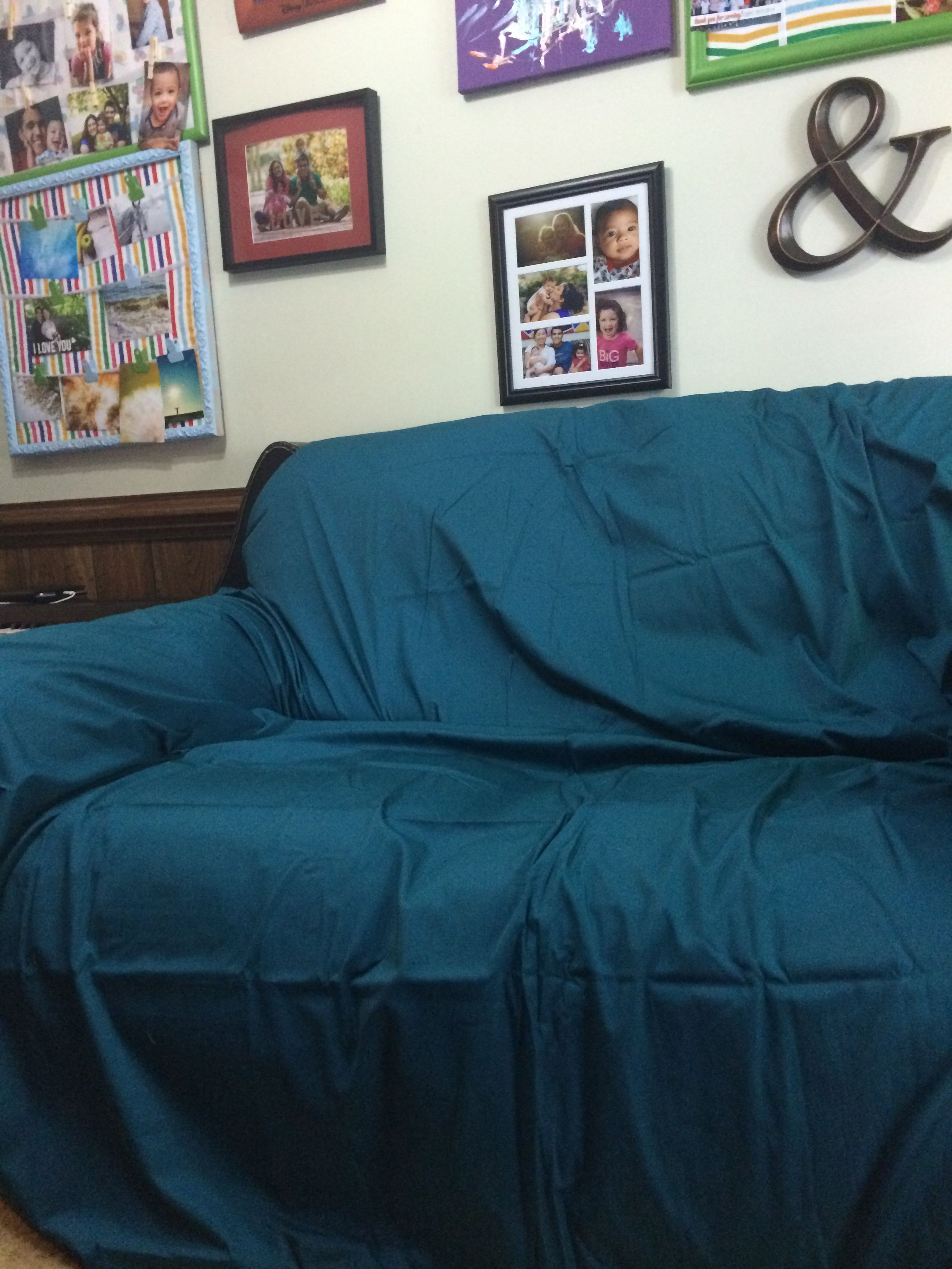 Quick Slip Cover King Flat Sheet Over Sofa In