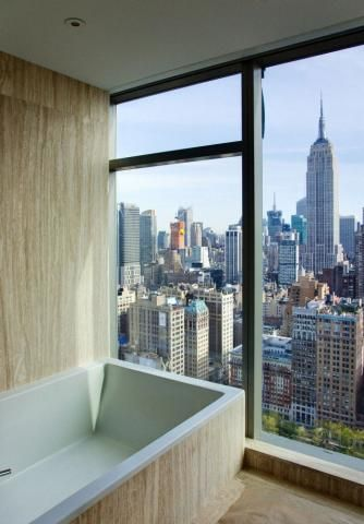 Bathroom With A View Of Empire State Building From One Madison Park Tower New York City