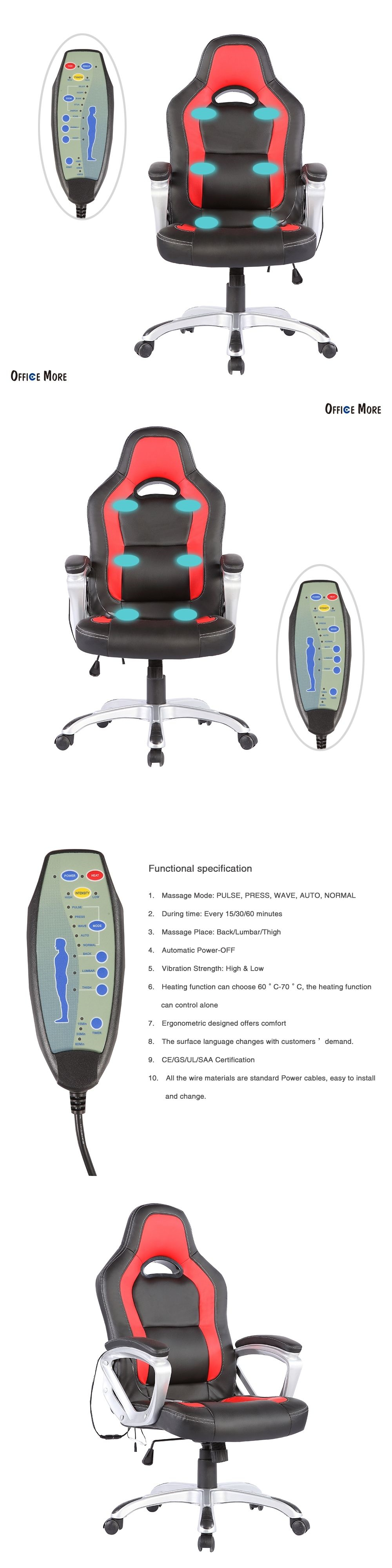 Electric Massage Chairs Heated Vibrating Race Car puter fice