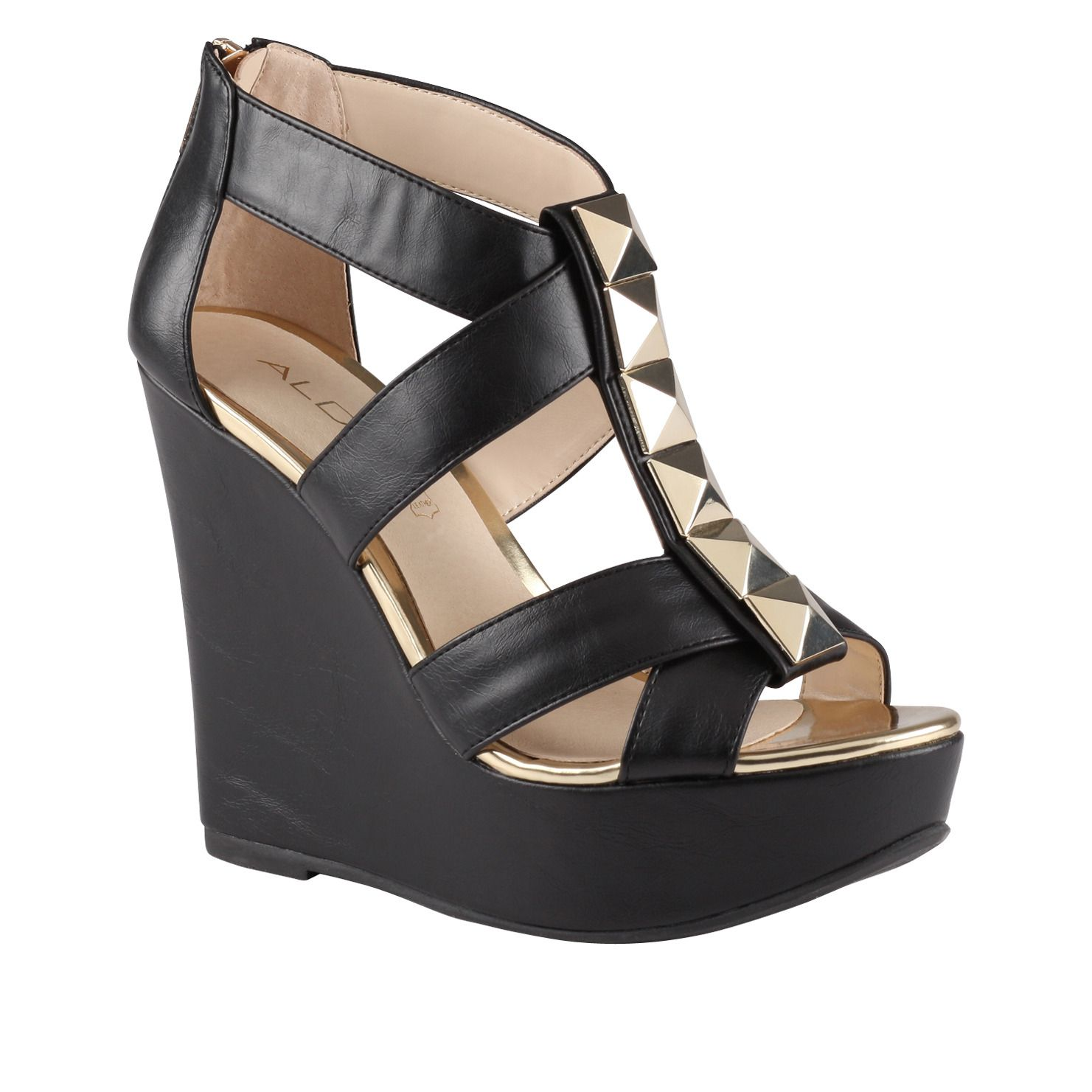 39fae93bf8b Aldo- black wedges with metal accents