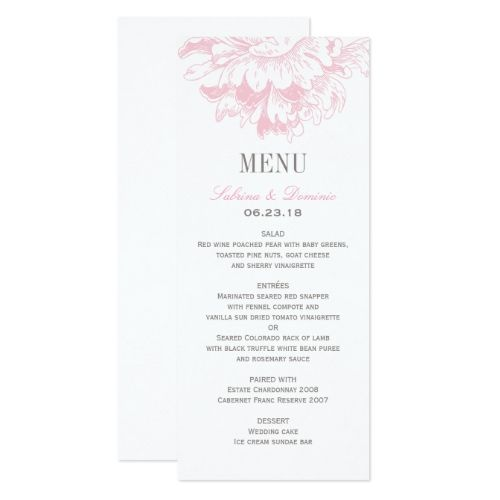 Floral Wedding Menu Wedding Dinner Menu Cards  Pink Floral Peony