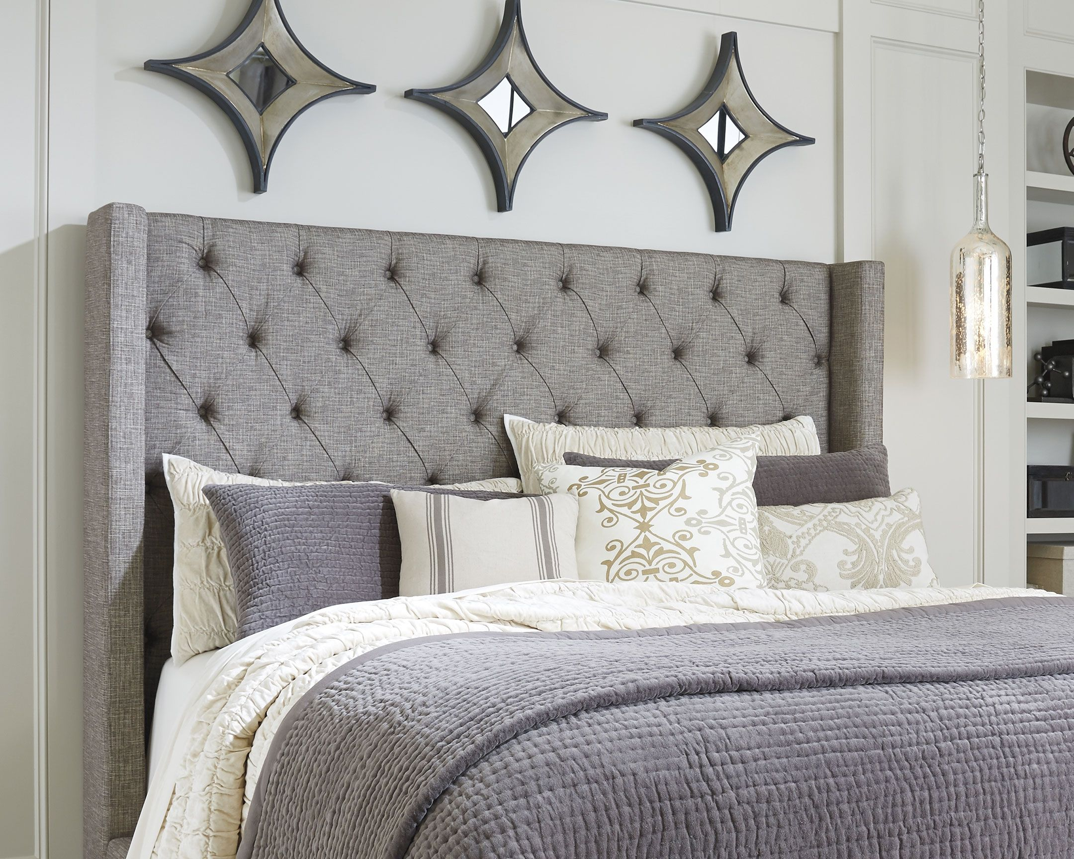 Sorinella King California King Upholstered Headboard Gray