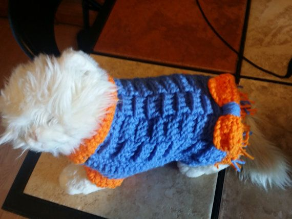 Crocheted blue and orange dog shirt/dress with by LuvBugsStitching