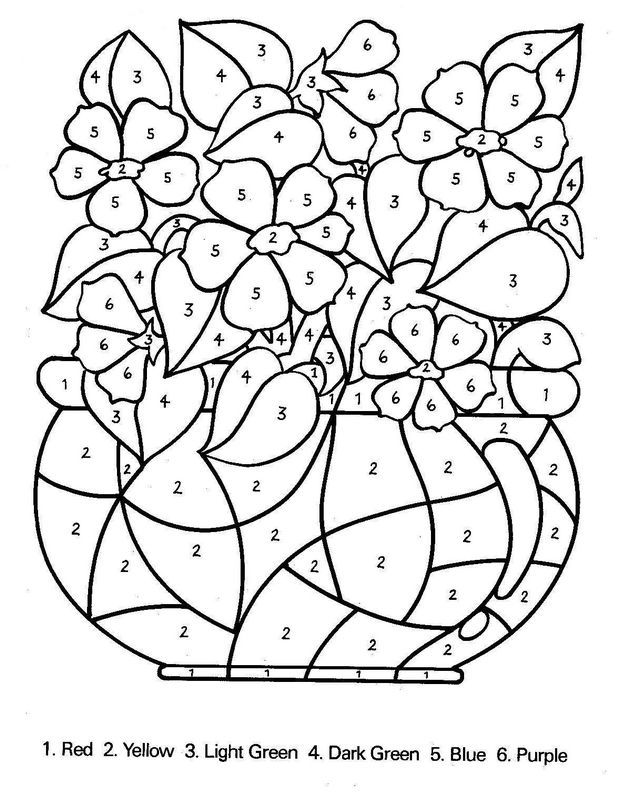 Coloriage Adulte A Imprimer Avec Numero.Bouquet De Fleurs Avec Des Nombres Color By Number
