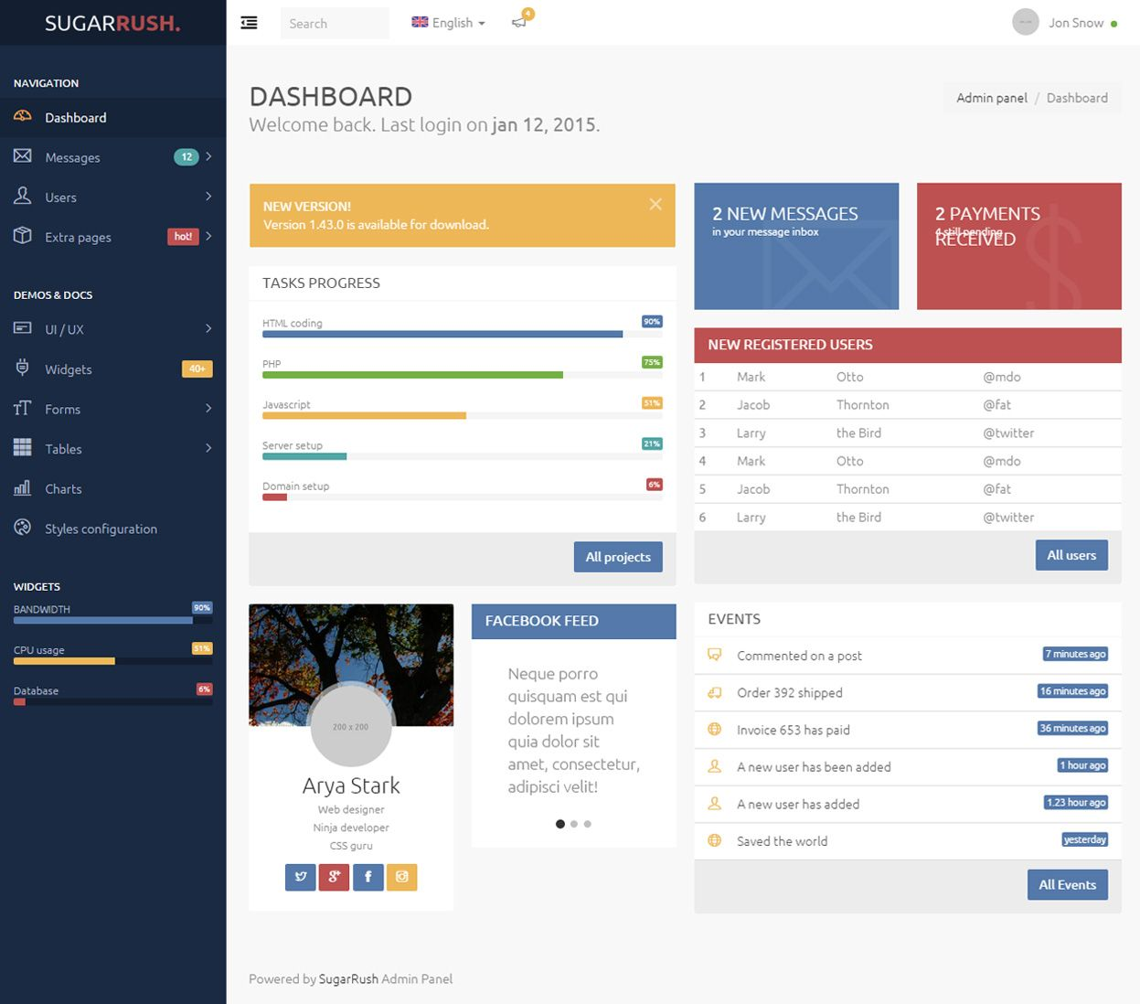 SugarRush is Premium full Responsive Admin dashboard HTML5 ...