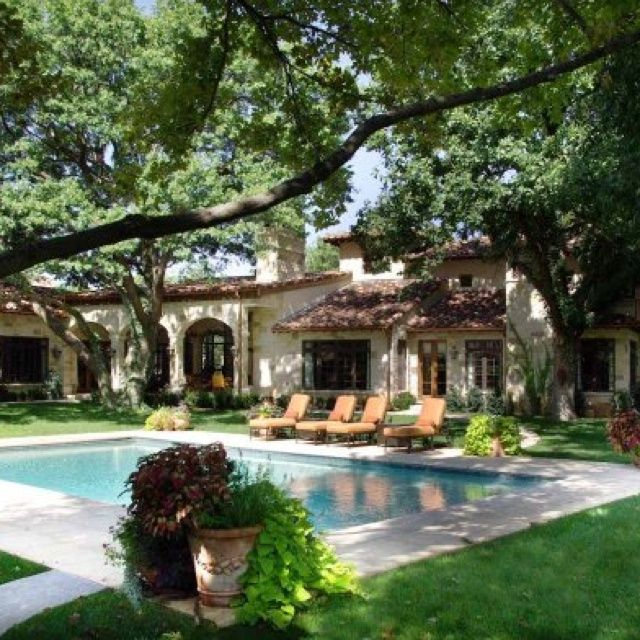 Interior Spanish Style Homes: Spanish, With A Pool And Trees For Serenity.