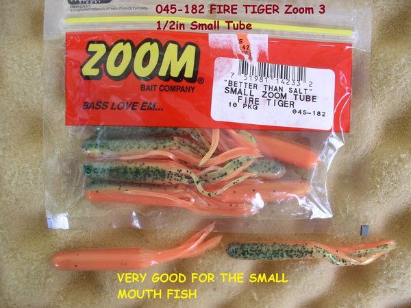 Zoom bait company salty small tube fire tiger body for Zoom fishing lures
