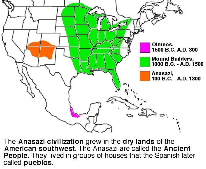 The Anasazi map in the USA INDIGENAS de NORTEAMRICA