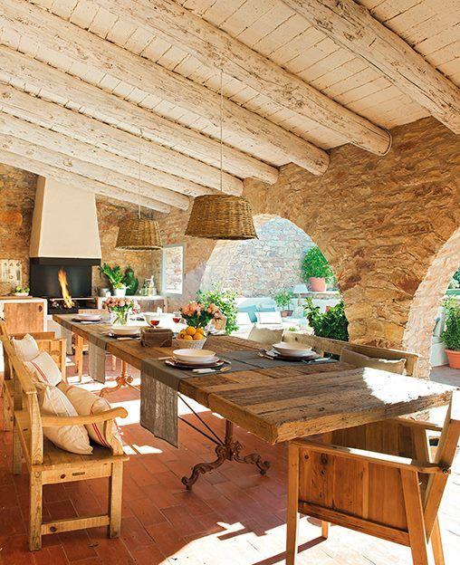 table in the outdoor veranda