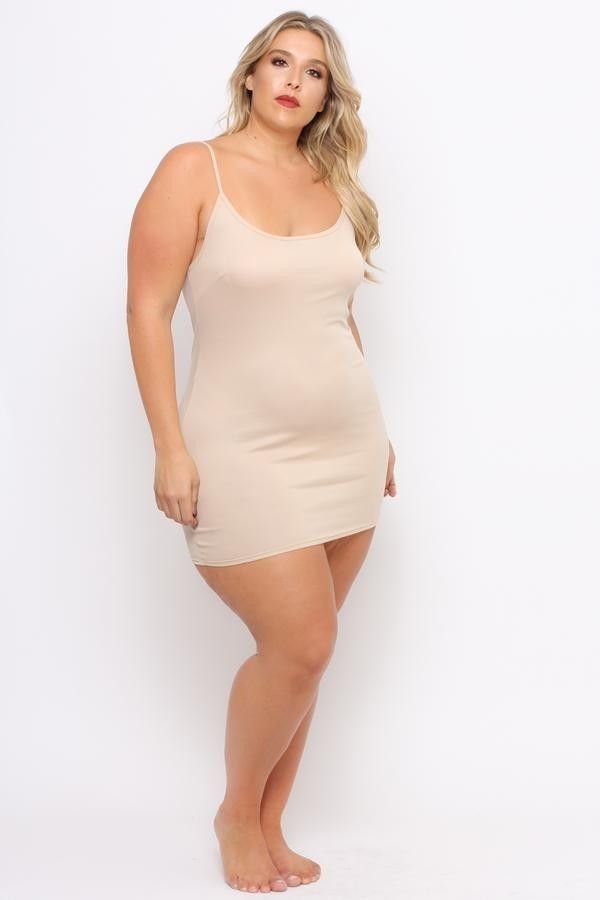 Plus Size Slip Dress Tan 1200 Fashion Ootd Outfit Oufits