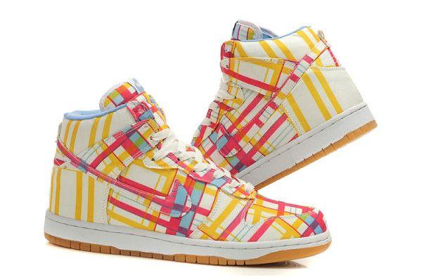 Nikes Dunk High Top Men Graffiti Yellow Shoes Shoes