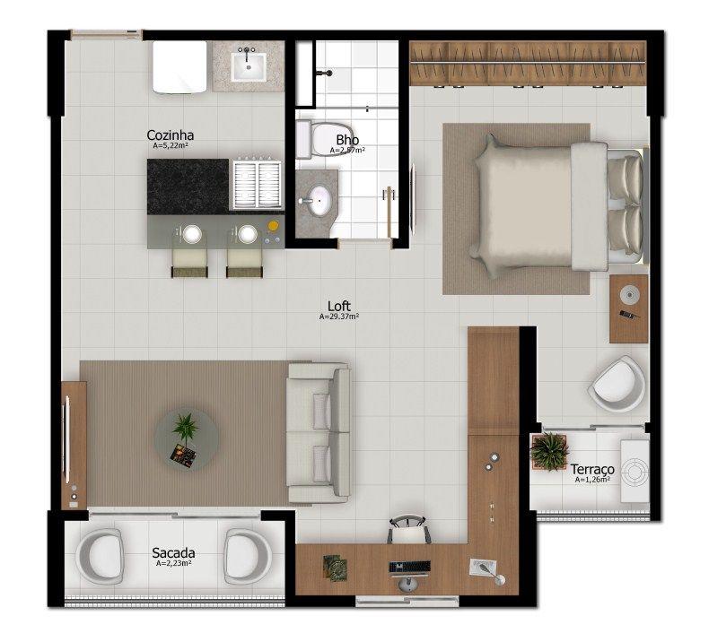 Projeto apartamento pequeno loft planta for Colores para apartamentos pequenos
