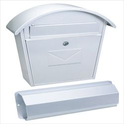 Rottner Aosta Set White Steel Post Box. Aosta Set post box has fine embossing on the front which make it very unique. This set includes a seperate newspaper box. #Rottner #Aosta #Mailbox #Postbox #White #Steel   http://www.littlesafe.co.uk