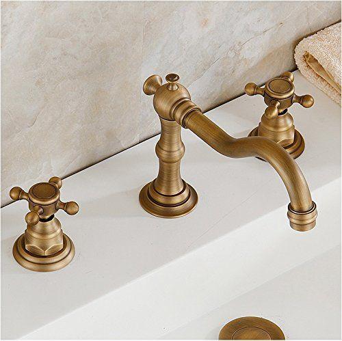 Shop Eulma Deck Mount Double Handle Bathroom Sink Faucet At Fontanashowers Com In 2020 Vanity Faucet Bathroom Mixer Taps Bath Faucet