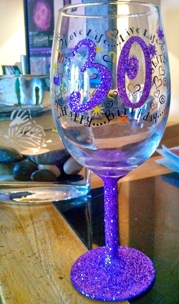 Purple glitter wine glass for someone very special ... Now for the champagne…