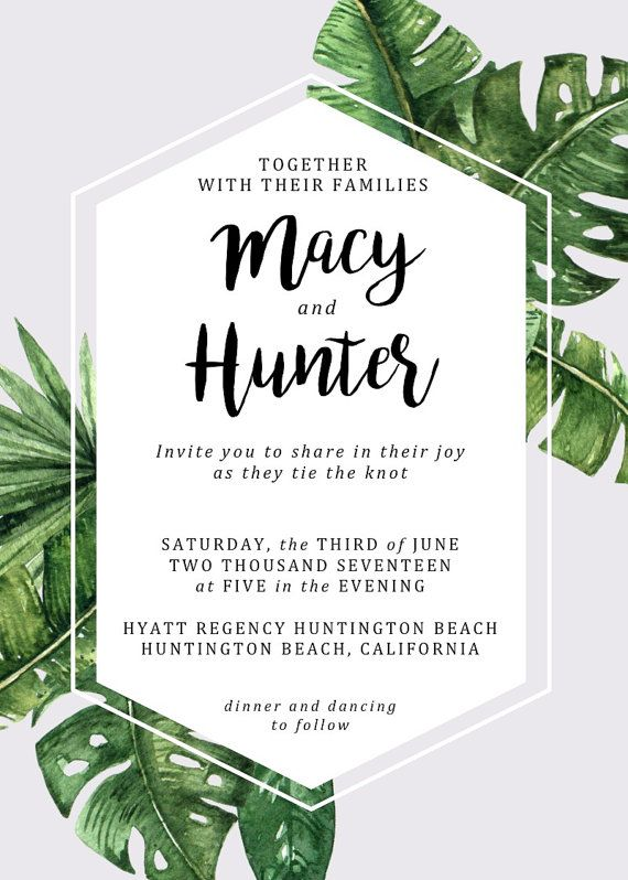 Tropical Modern Wedding Invitation Set Printable Palm Leaf