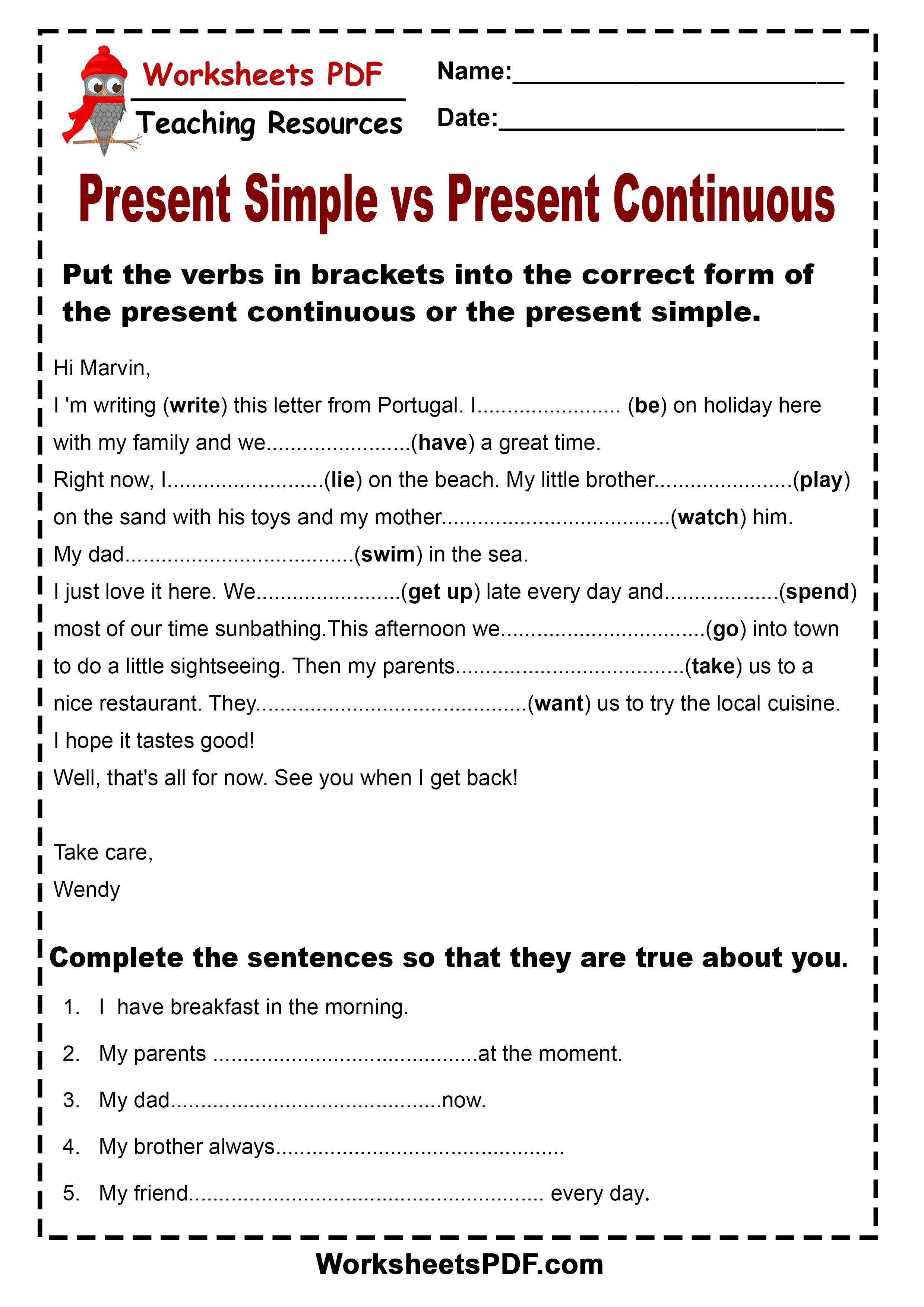 Present Simple Vs Present Continuous Con Imagenes