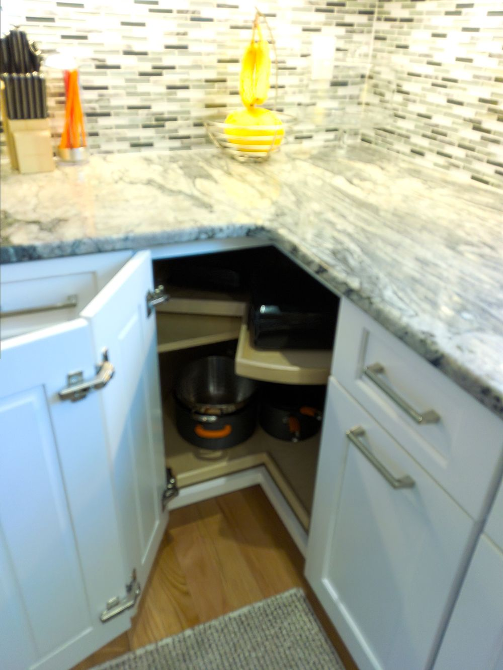 A Lazy Susan Makes The Most Of Corner Cabinet Space Kitchen Cabinets For Sale Cabinets For Sale Cabinet Design