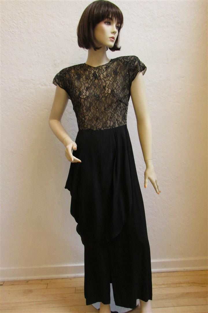 1940s Black Long Crepe Evening Dress With Peplum Overskirt And A