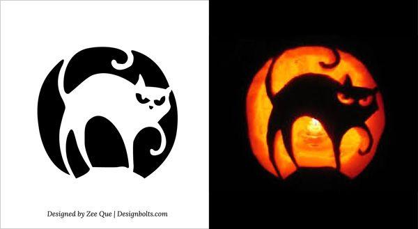 Scary tree pumpkin stencil