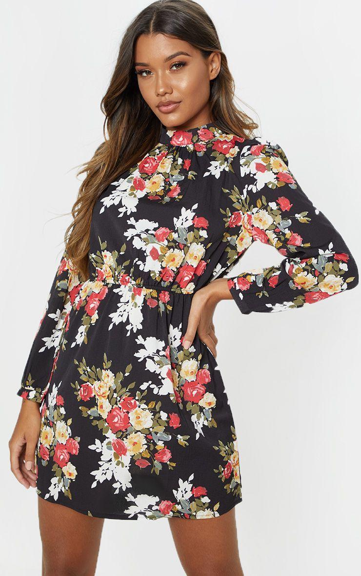 Black High Neck Pleated Long Sleeve Tea Dress Dresses For Work Dresses Fashion