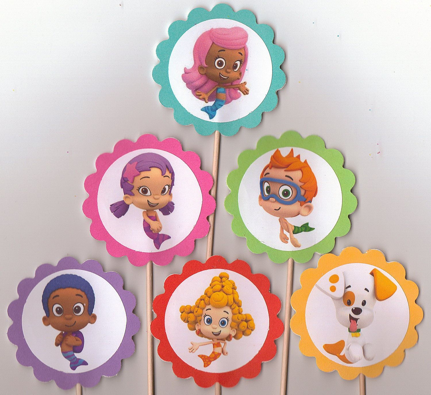 Bubble Guppies Set of 12 Cupcake Toppers Birthday party food picks ...