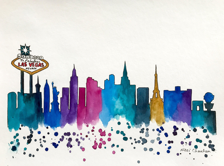 las vegas skyline, original watercolor painting, illustration