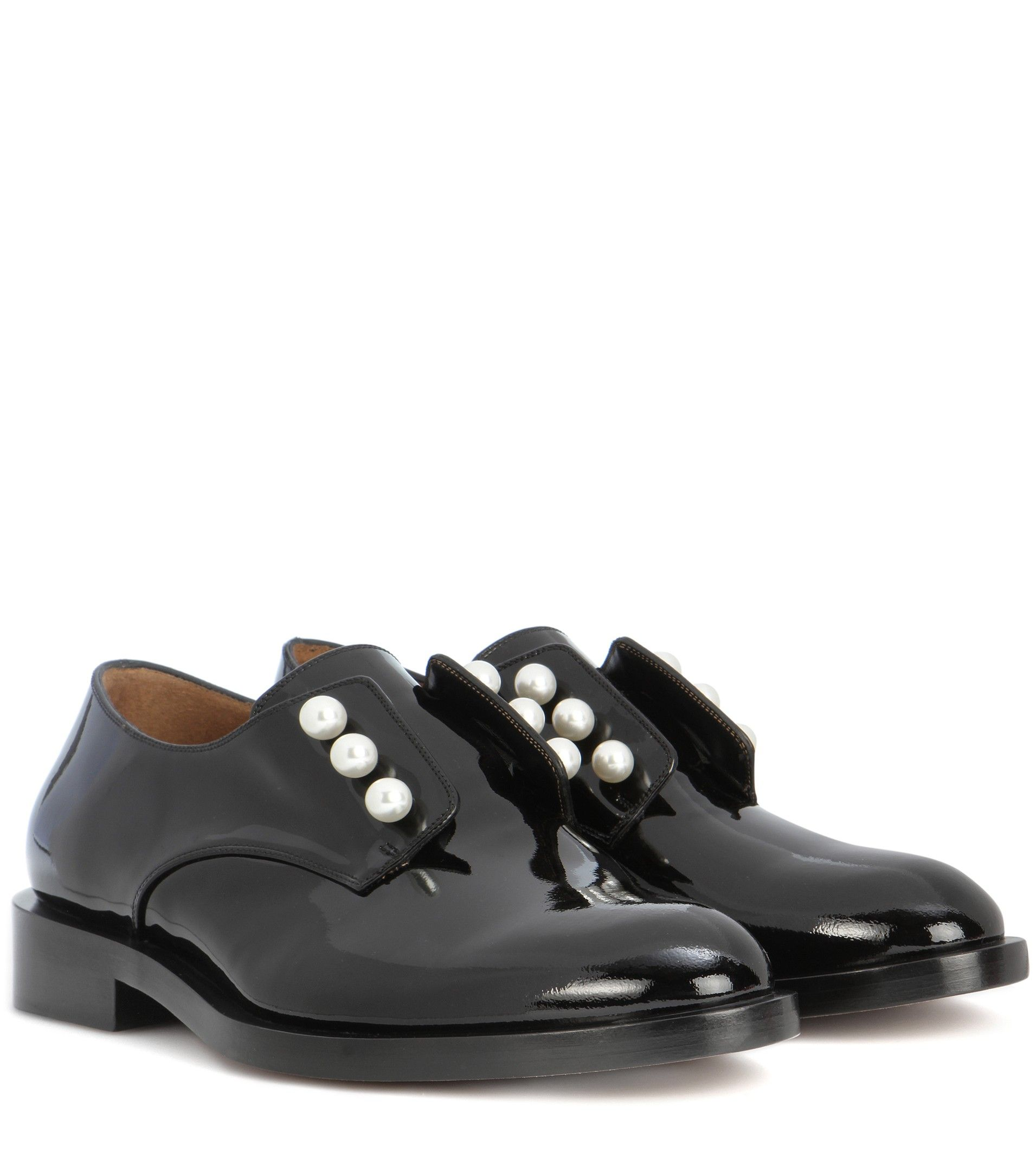 Buy Nice Shoes Women Masculine Pearls patent leather derby shoes Black